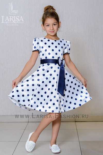 Детское платье Горошек с бантом