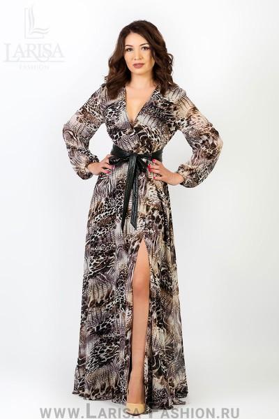 Молодежное платье Лейла цветное с кушаком из экокожи