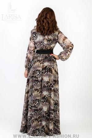 Молодежное платье Лейла цветное с кушаком из шифона